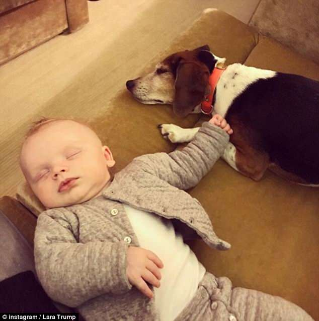 Lara previously shared this precious picture to Instagram of baby Luke sleeping with a family dog