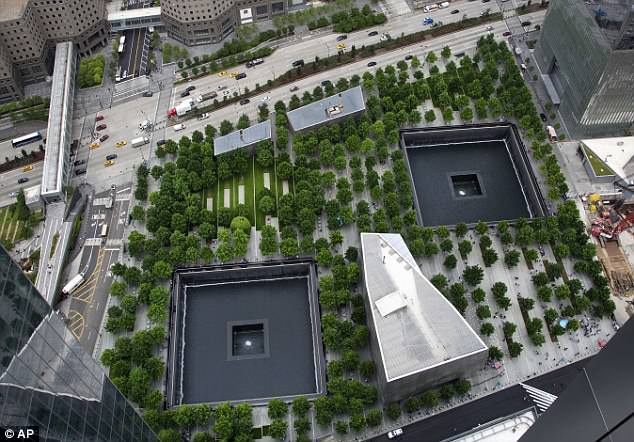 A view from an upper floor of 3 World Trade Center of the September 11 Memorial and the Museum