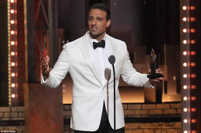'I pretended that I am not a Middle Eastern person': Ari'el Statchel burst into tears when he accepted Best Featured Actor in a Musical, saying: 'Both of my parents are here tonight, and I have avoided so many events with them'
