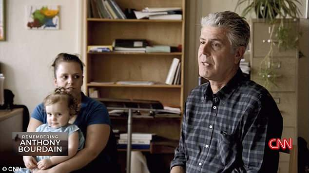 Footage (above) of Bourdain's conversation with a group of recovering addicts in Massachusetts, originally shot for a 2015 episode of Parts Unknown, ran again in a CNN tribute