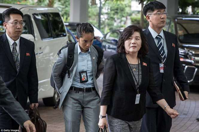North Korean vice-foreign minister Choe Son Hui (2nd-R) arrives at the Ritz-Carlton hotel in Singapore on Monday for meetings with the U.S. delegation