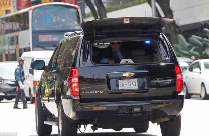 A security vehicle in the motorcade transporting U.S. President Donald Trump leaves the Istanaa on Monday