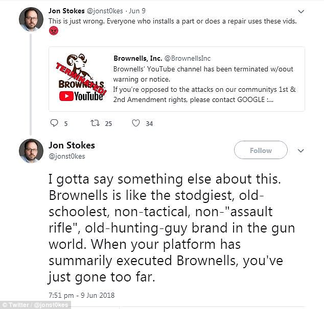 Messages of support poured in from second amendment advocates on Twitter. @jonst0kes tweeted: 'This is just wrong. Everyone who installs a part or does a repair uses these vids'
