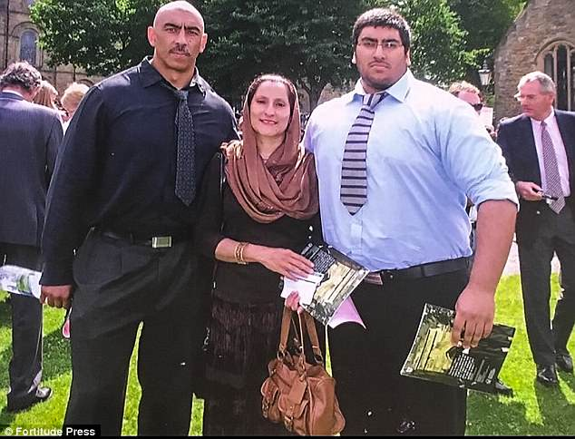 Umar seen with his parents (left and centre) before his dramatic weight loss transformation