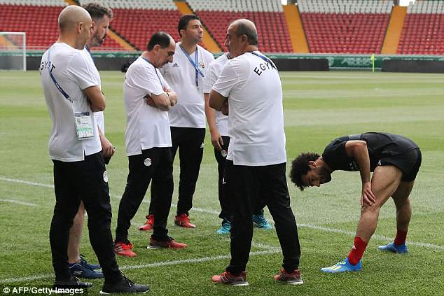 Salah briefly took part in a session in Gronzy on Monday as medical staff kept a close watch