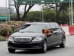 Kim Jong-uns 1,6 Millionen US-Dollar teure Mercedes S600 Maybach Pullman Guard, die den Gipfel von Singpore am Dienstag verlassen hat