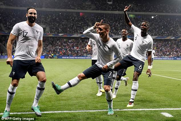 Antoine Griezmann leads his France team-mates in a celebration inspired by Fortnite