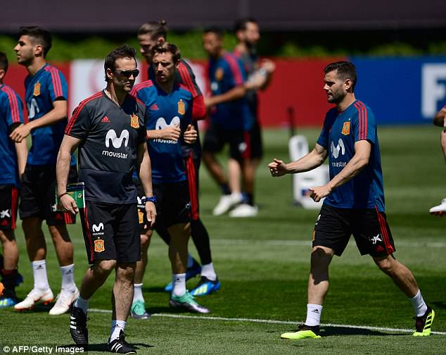 The 51-year-old looked tense as he prepared his Spain players for their opener with Portugal