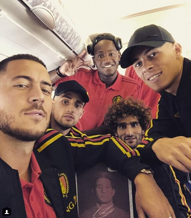 Eden Hazard and Co posed for a snap on board by Kevin De Bruyne's picture on the headrest