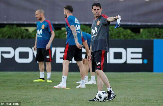 Hierro took Spain training for the first time on Wednesday since becoming manager
