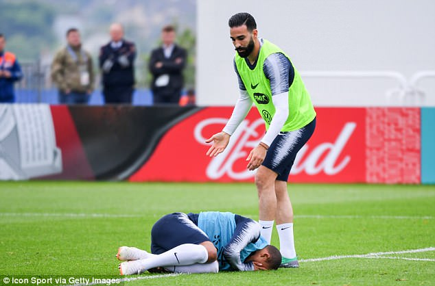 Mbappe suffered an injury scare on training as his ankle was hurt after an Adil Rami challenge