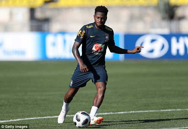 Fred trained alone from the Brazil squad as he continues his recovery from an ankle injury