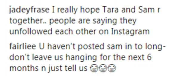 Reaction: 'I think they've broken up- they've unfollowed each other on insta,' one fan wrote, leading the troops in the comments section