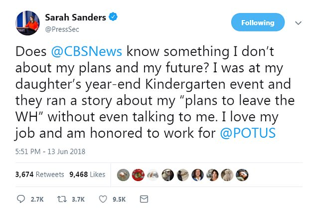 'Does @CBSNews know something I don't about my plans and my future?' she tweeted