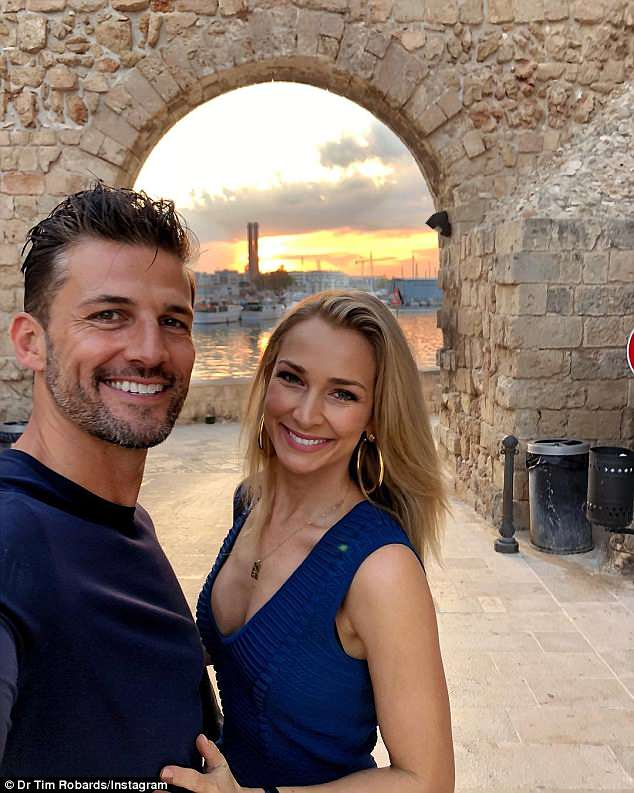 Glowing couple: Tim is on honeymoon in Turkey with new bride, Anna Heinrich (pictured)