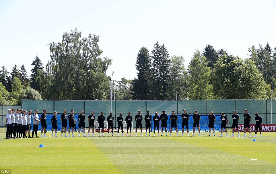 The England team in Russia for the World Cup stop for a minute's silence at Midday their time to show their respects for the Grenfell dead