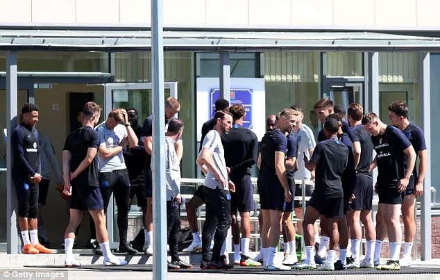 Southgate's squad prepare to take to the training pitch ahead of Thursday's session