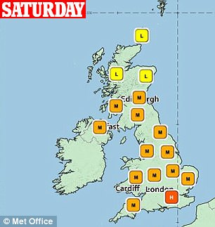 Sufferers are expected to get temporary relief on Saturday, when only London and South East England will have high pollen levels