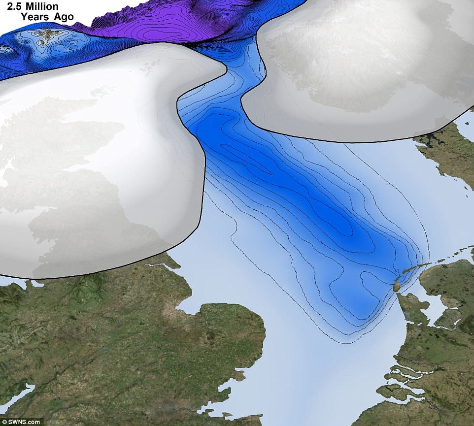Until now, the scientific consensus has been that glaciation on this scale first occurred in the North Sea about 1.1 million years ago. The new research, however, shows it first happened 1.4 million years earlier. This image shows how the ice sheets appeared around 2.5 million years ago