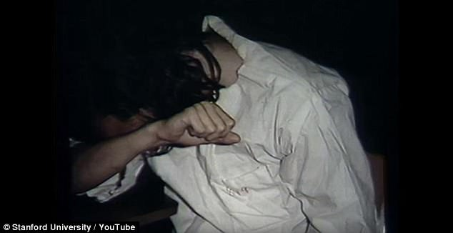 The guards quickly began mistreating their prisoners, according to the experiment, suggesting that cruelty is driven by circumstance. This image shows a distressed inmate during the experiment