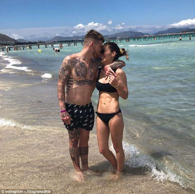 The pair shared a cosy photo on the beach as partner Lilia Granadilla called him her 'vitamin'