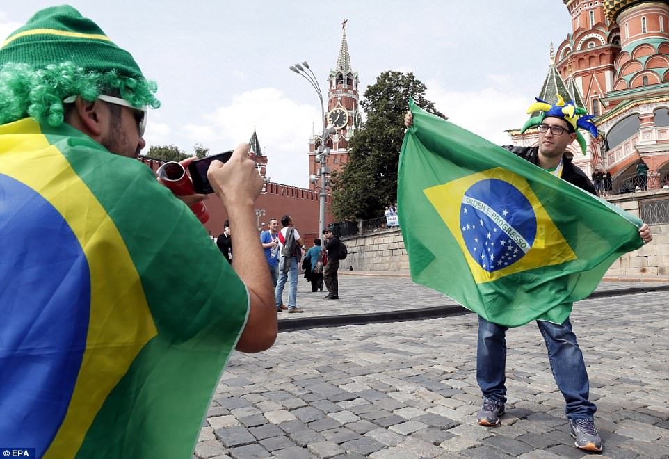 Brazilian fans continued the South American theme in Moscow - they are among the favourites to lift the trophy on July 15