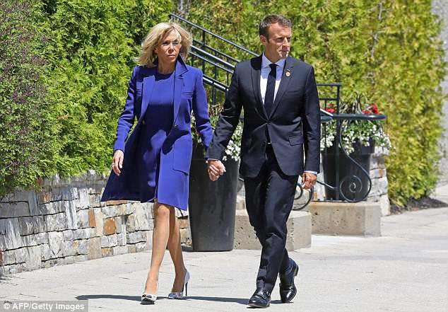 French First Lady Brigitte Macron (left) has spent £44,000 on new plates for the Élysée Palace sparking outrage among critics