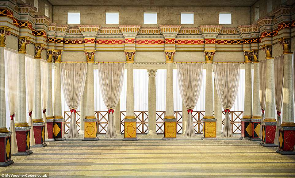 The CGI-ed lower terrace was designed especially for entertainment and relaxation. It had walls covered in beautiful frescoes
