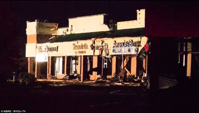 TheWyoming Valley Mall strip mall suffered the most damage, pictured above with destroyed storefronts where windows were broken, walls collapsed, and signs ripped off