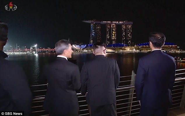 Kim was accompanied on his tour by Singapore's foreign ministerVivian Balakrishnan, who is pictured to the dictator's left here