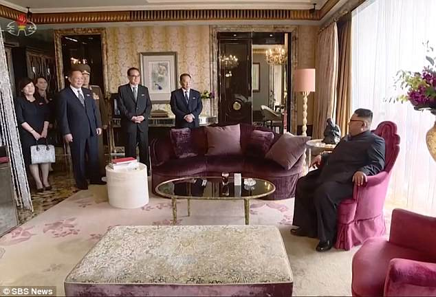Kim stayed at the St Regis hotel in Singapore in what is believed to have been the Presidential suite on the top floor