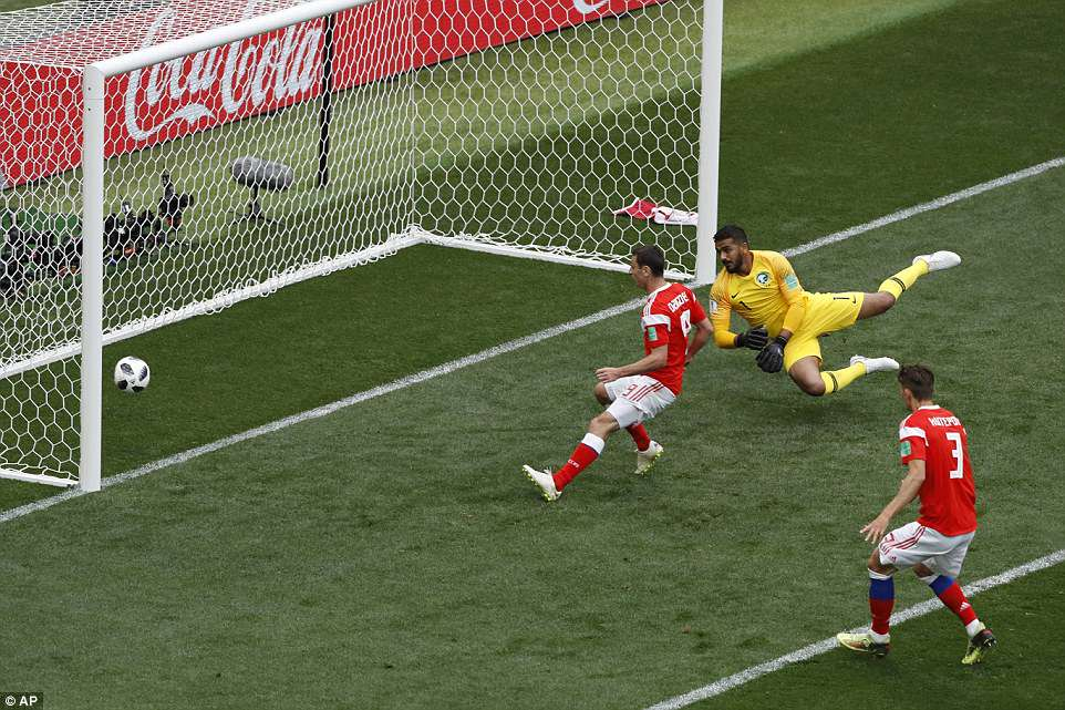Saudi Arabia's No 1 could do nothing but watch on as Gazinsky's header bounced into towards the bottom corner