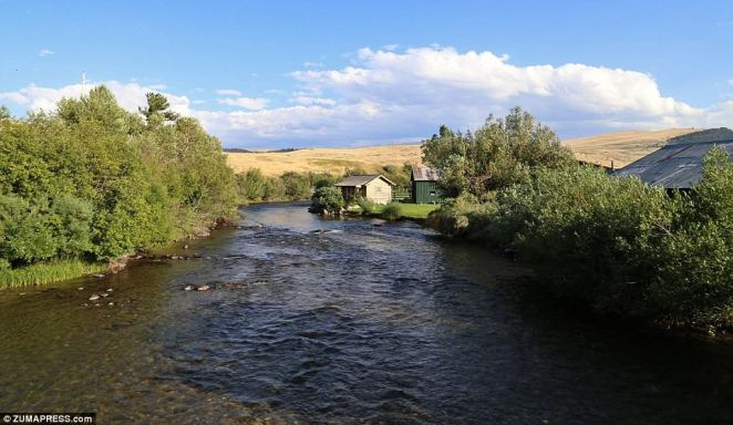 Doolittle:'Wildlife abounds, with massive trophy elk, mule and whitetail deer, upland birds, antelope and wild rainbow and brown trout,' says the listing (river on ranch above)