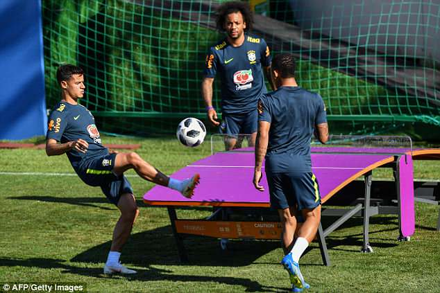 The Barcelona man controls the ball as he looks to pass to team-mate Gabriel Jesus