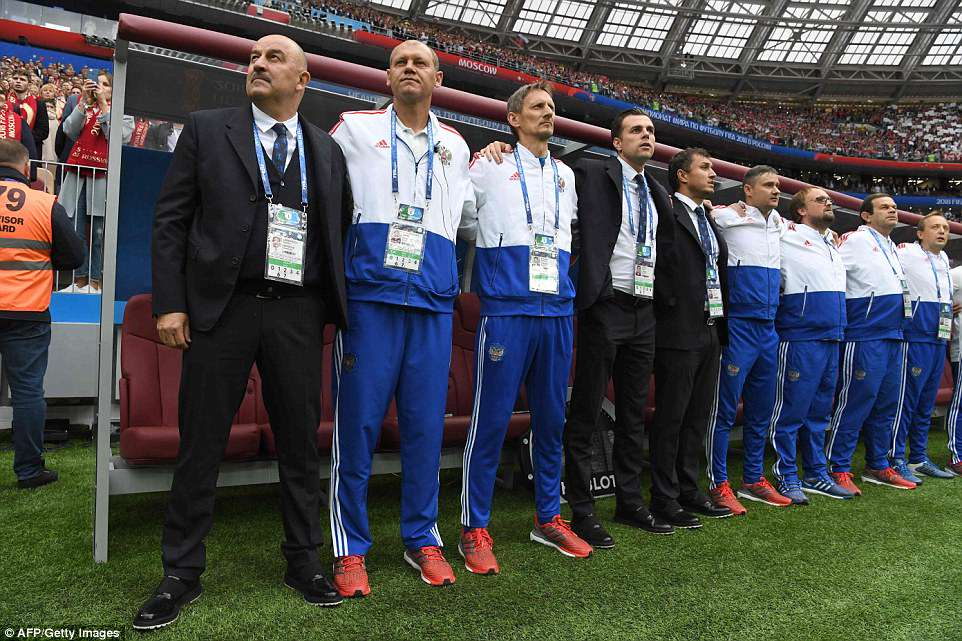 Russia managerStanislav Cherchesov stand side-by-side for their country's national anthem before kick-off