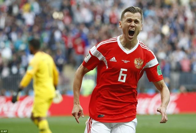 Just before half-time Russia doubled their lead whenDenis Cheryshev fired home on 43 minutes
