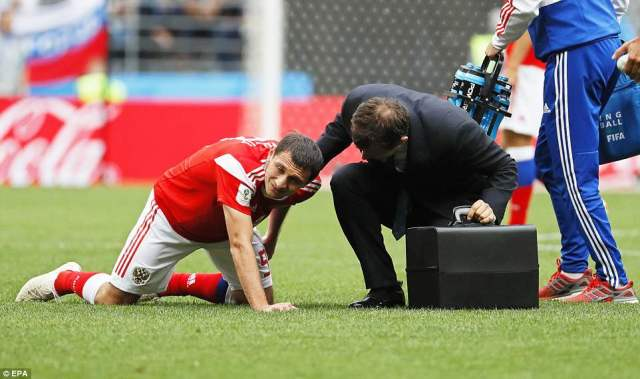 However, Russia's attempts build on their lead took a major blow when Dzagoev pulled up with a left hamstring injury