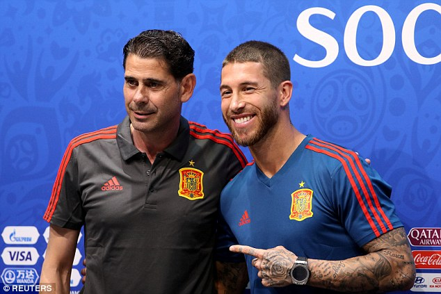 Sergio Ramos poses for a picture with Fernando Hierro during Thursday's press-conference