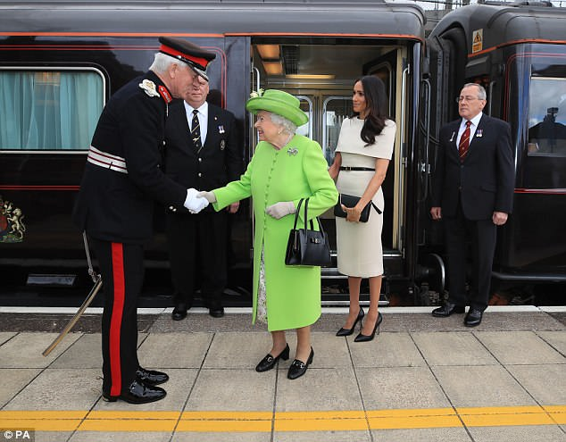 However, for now Meghan must stick to formal greetings, referring to the monarch as Your Majesty as she arrived at Runcorn on Thursday