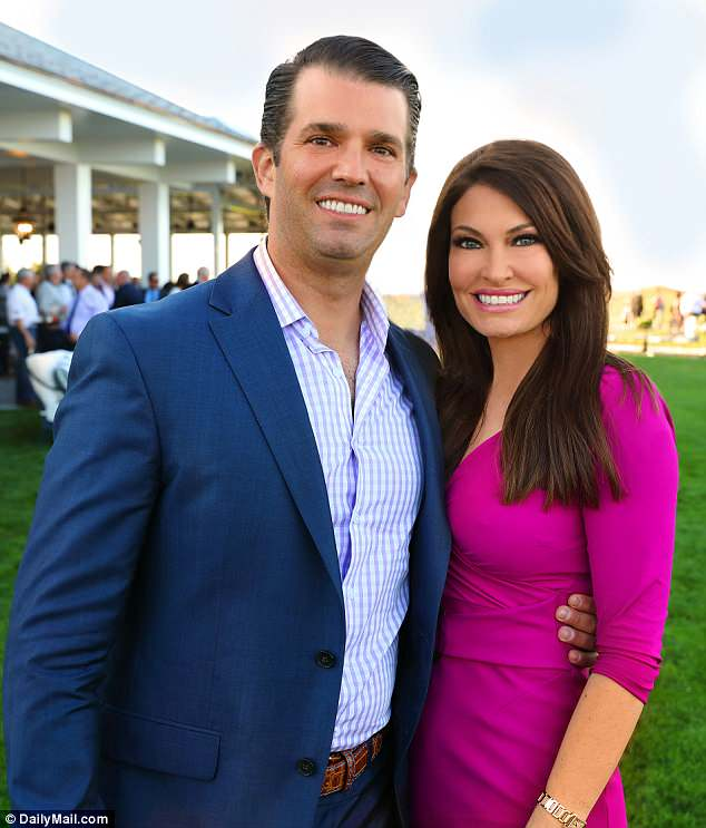 The president's son and Kim (pictured together at the the Trump Ferry Point golf clubhouse on Monday) have been dating since March, around the time Don Jr and Vanessa announced their split.