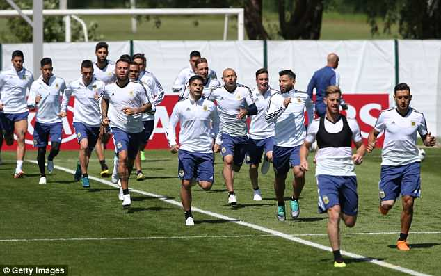Players worked on fitness and stamina before heading into work with the football