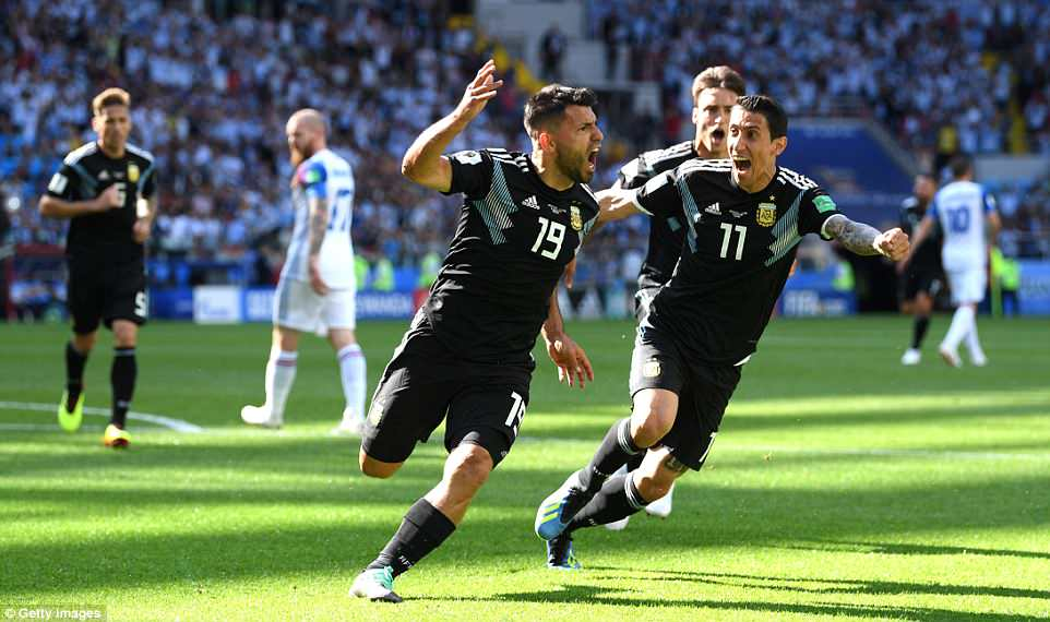 Manchester City talisman Sergio Aguero celebrates putting Argentina in front with the first World Cup goal of his career