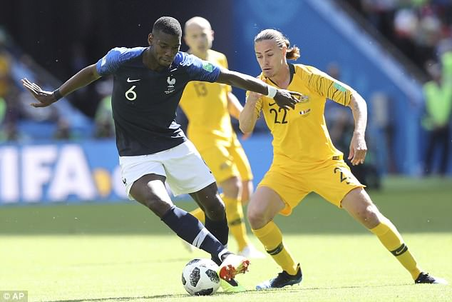 Pogba also helped in the build-up to the opening goal and impressed against Australia