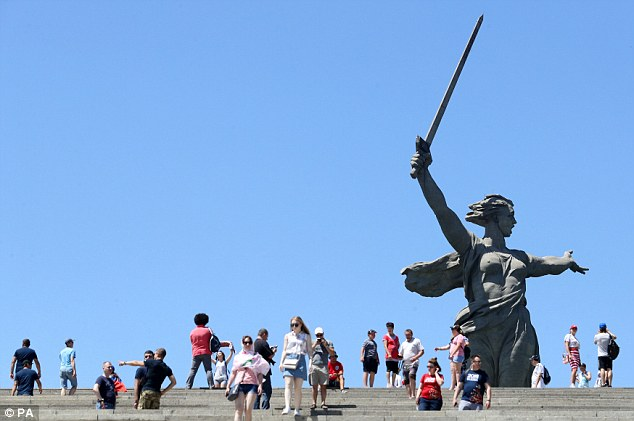 Fans and tourists enjoyed the sights with plenty of interest in the Mamayev Kurgan