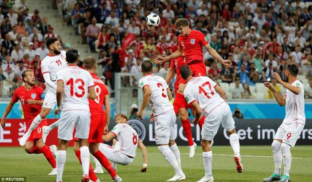 John Stones leapt tremendously above the Tunisia players from a corner and rifled one towards Hassen's goal