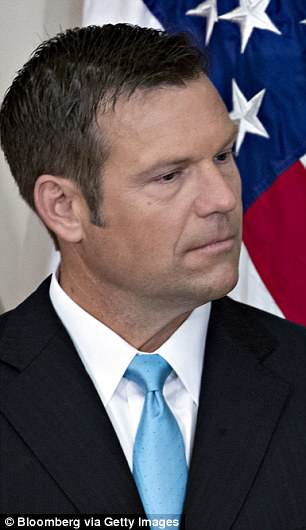 Kobach (pictured) has championed such laws and led President Donald Trump's now-defunct voter fraud commission