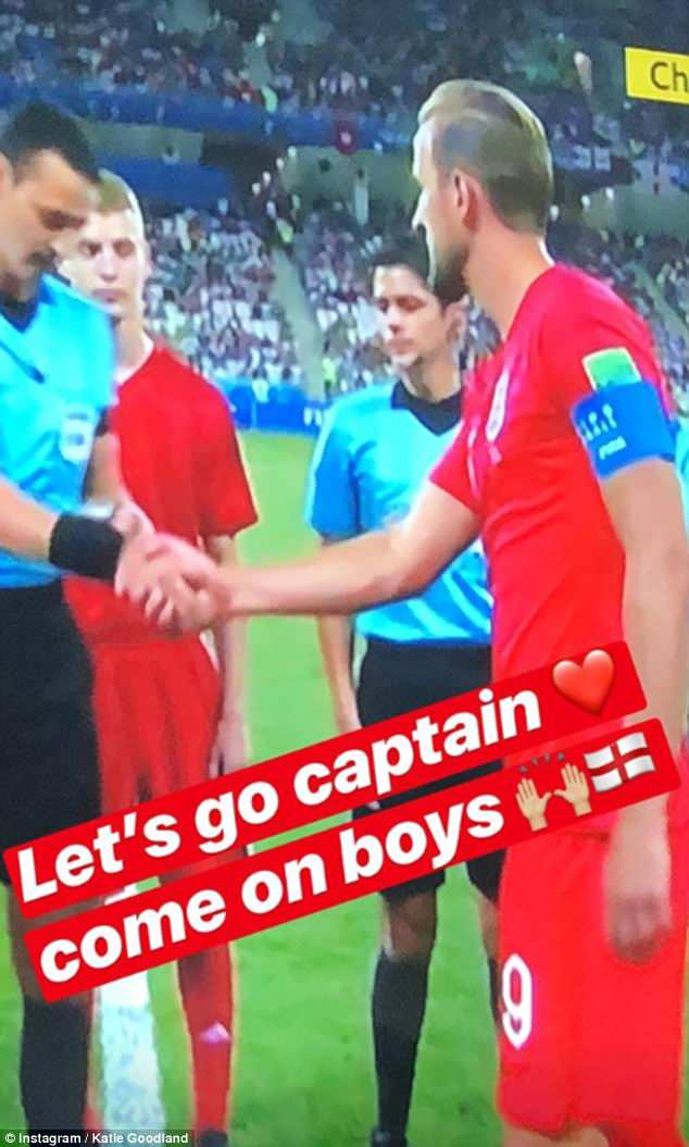 Come on England! Katie took to Instagram to share a snap from the match's build-up wishing the Three Lions luck as Kane shook hands with the referee