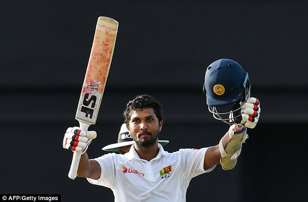 Chandimal hit a century on the first day of the second Test atDaren Sammy Cricket Ground