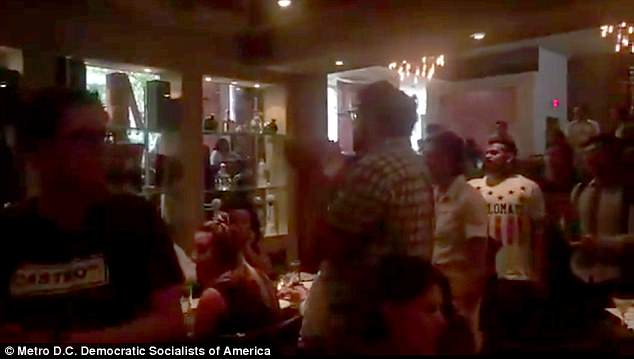 The protesters descended on the restaurant MXDC Cocina Mexicana by Todd English, where Nielsen was dining with a male companion during a work dinner