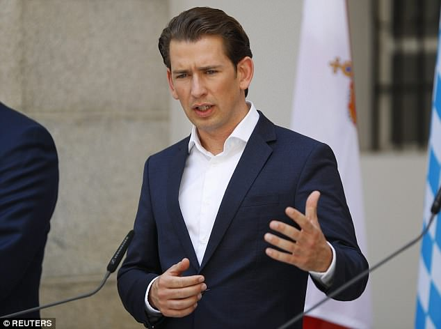 Austria's Chancellor Sebastian Kurz (pictured) has warned of a migrant 'catastrophe' similar to the 2015 crisis if Europe does not agree a common response